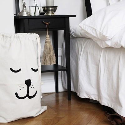 収納ケース ドッグフェイス 巾着 袋 アメリカやヨーロッパで子供部屋の収納に大人気!  ( 眠り顔 特大 68cm×48cm )
