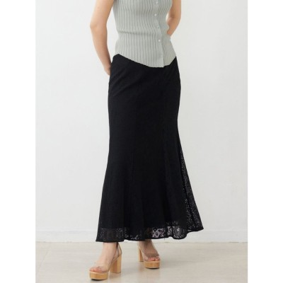 LAGUNAMOON ミックスレースナロースカート(ブラック)