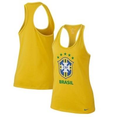 ナイキ レディース タンクトップ トップス Brazil National Team Nike Women's Evergreen Crest Performance Tank Top Gold