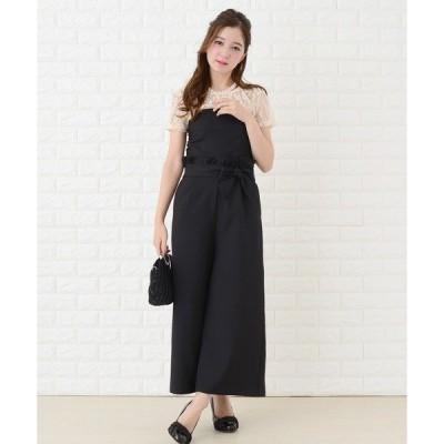 ドレス ビスチェ風ウエストリボン付きパンツドレス ・セットアップ