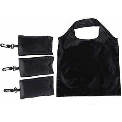3点セットエコバッグ 買い物バッグ 折りたたみ 収納大容量 軽量 (ブラック)