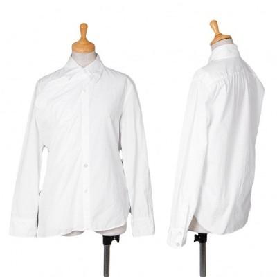 ヨウジヤマモト ノアールyohji yamamoto NOIR 前立てデザイン長袖コットンシャツ 白1 【レディース】