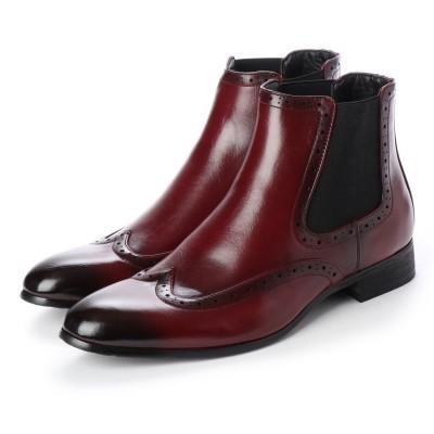 ジーノ Zeeno メンズブーツ サイドゴアブーツ  ウイングチップ ショートブーツ ドレスシューズ フォーマル 革靴 (ワイン)