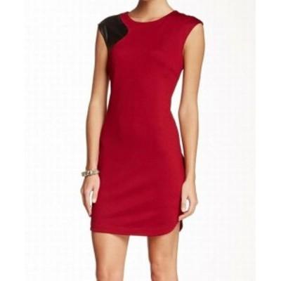 Trina Turk トリーナ ターク ファッション ドレス Trina Turk NEW Red Womens Size 8 Pleather Colorblock Sheath Dress