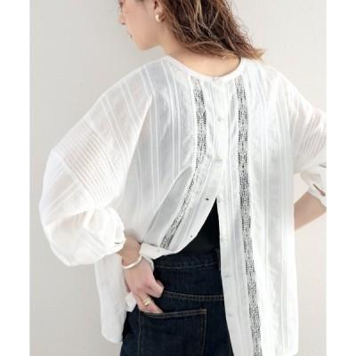 シャツ ブラウス 透け感がクラシカルで美しい。刺繍コットンレースの2Wayブラウス