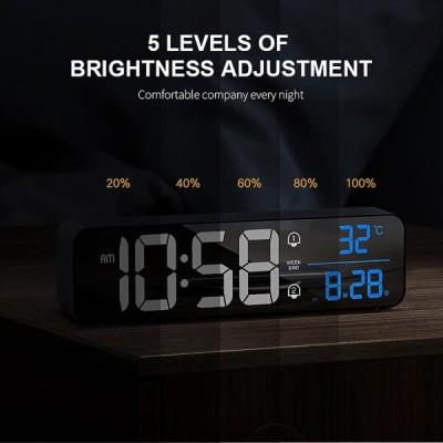 スマートLED目覚まし時計スヌーズ温度計ディスプレイデスクトップ装飾2000mAhブラック