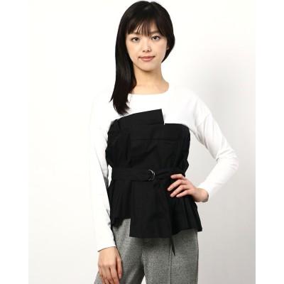 リネーム Rename 異素材風デザインロングスリーブTシャツ (ホワイト/ブラック)