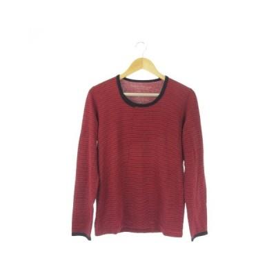 【中古】フィノ PHONO BY PARASITIC CLOTHES Tシャツ カットソー ラウンドネック 長袖 ボーダー 1 赤 レッド /AO1 ☆ メンズ 【ベクトル 古着】