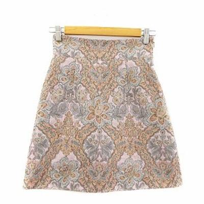 【中古】デイシー deicy スカート 台形 ミニ 花柄 刺繍 0 ピンク /AAM36 レディース