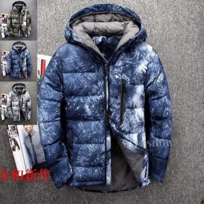ダウンジャケット メンズ 大人気 コート ブルゾン 厚手フード付き 3色スノーボードウェア アウター 防寒