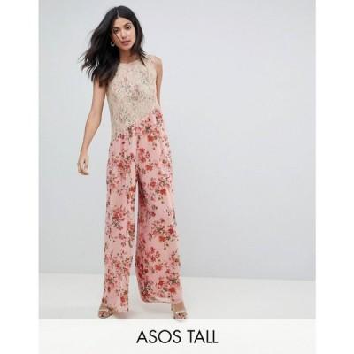 エイソス ASOS Tall レディース オールインワン ジャンプスーツ ASOS DESIGN tall Jumpsuit in Soft Floral with Lace Bodice Detail ピンク