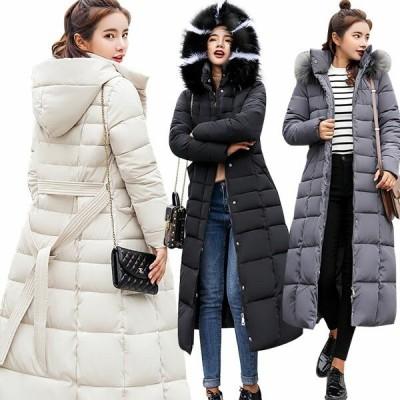 中綿コート レディース 中綿ジャケット 超ロング ダウンコート マキン丈 フード付き ファー 防寒 アウター 羽織り 綿入れ ウエストベルト 大きいサイズ