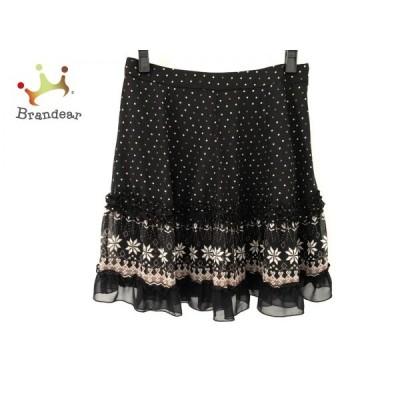 アプワイザーリッシェ スカート サイズ2 M レディース 黒×アイボリー×ブラウン ドット柄     スペシャル特価 20200621