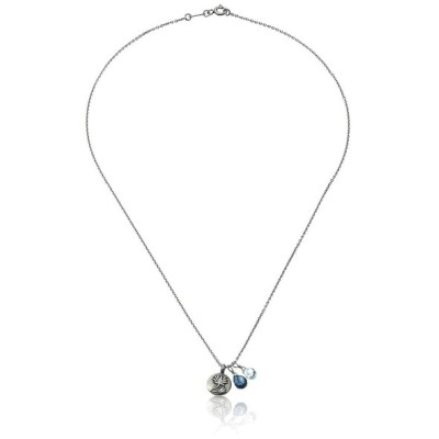Satya Jewelry Classics Silver-Tone Lotus and Blue Topaz Regeneration C