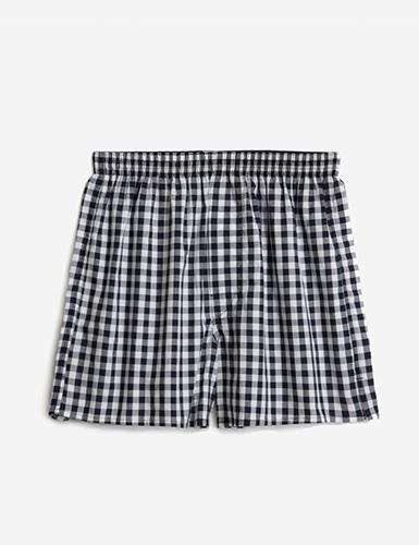 (男款)格紋控.平織舒適四角內褲(藍/白格)