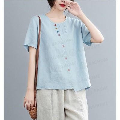 Tシャツレディース無地Tシャツ半袖カジュアルおしゃれきれいめ大きいサイズ体型カバートップス夏ゆったりクルーネック女性薄手