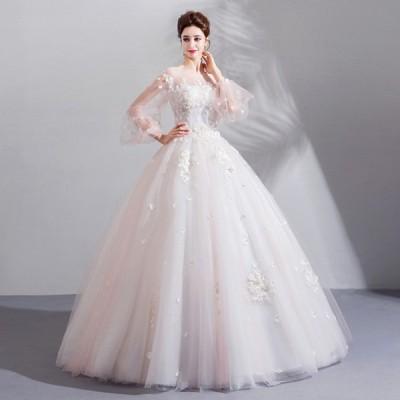 ウェディグドレス プリンセスラインドレス ドレス パーティードレス ロングドレス 花嫁 二次会 海外挙式 花嫁二次会 大きいサイズ 結婚式 長袖 袖あり 送料無料