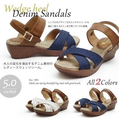 サンダル  レディース ウェッジソール 女性  ストラップ 靴 Tストラップ