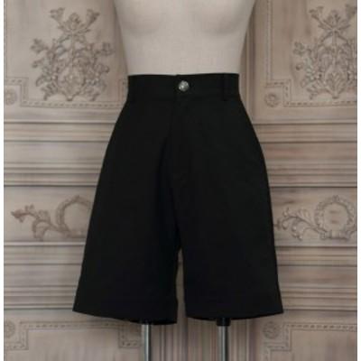 ロリータファッション NyaNya 王子ボトムス パンツ 膝丈 ショート丈 ブラック 少年 男装 シンプル クラロリ クラシカル ロリィタファッシ