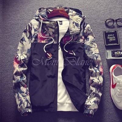 スタジャン ジャケット メンズ キレイめ 花柄 迷彩 秋物 メンズジャケット 長袖 大きいサイズ ミリタリージャケット フード付き トップス