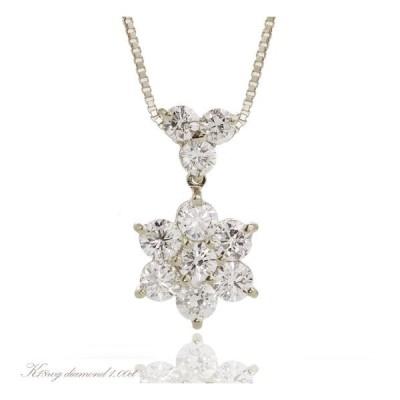 K18WG ダイヤモンド計1.00ct スイングフラワーダイヤモンドネックレス