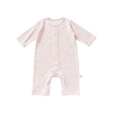crem? de coco 木馬 柄 接結 チケット 付き カバーオールオール 新生児 赤ちゃん 綿100% 日本製 CA (ピンク, 80