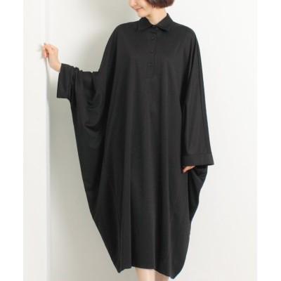 【マーサ】 オーバーサイズシャツワンピース レディース ブラック L MARTHA