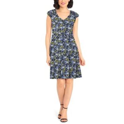 ロンドンタイムス レディース ワンピース トップス Petite Floral-Print Fit & Flare Dress Navy Blue