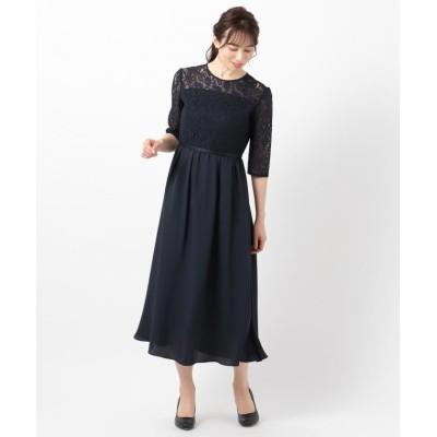 (anySiS/エニィ スィス)【洗える】エンパイアレーシー ドレス/レディース ネイビー