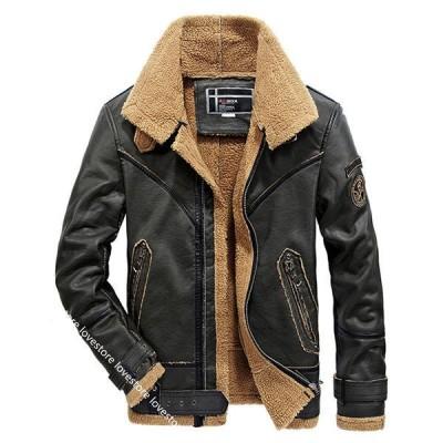 ブルゾン 裏ボア 合皮ジャンパー フェイクレザー メンズ 防風防雨 ファー 裏起毛 折り襟 防寒 オートバイ バイク用 革ジャン 上着