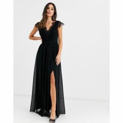 リトル ミストレス Little Mistress レディース ワンピース マキシ丈 ワンピース・ドレス Lace Detail Maxi Dress ブラック