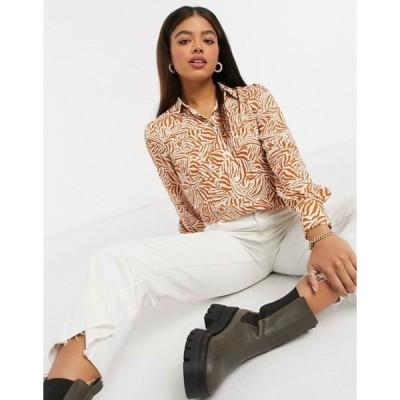 ニュールック レディース シャツ トップス New Look shirt in brown tiger print