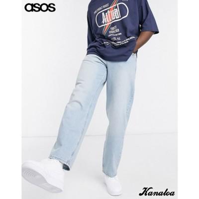 asos エイソス バギージーンズ デニムパンツ メンズ ワイド リラックス ライトブルー 大きいサイズあり