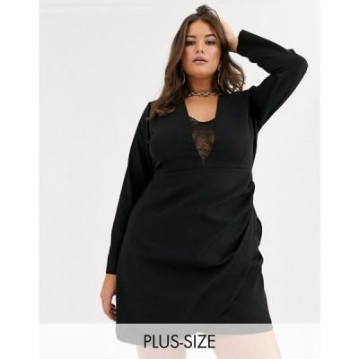 ベスパー Vesper Plus レディース ワンピース ラップドレス ラップスカート ミニ丈 mini dress with lace insert and wrap skirt in black ブラック