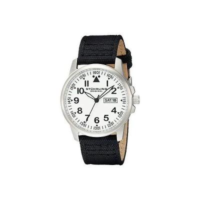 ストゥーリングオリジナル 腕時計 Stuhrling 850 01 メンズ Aviator クォーツ アナログ ディスプレイ Day and Date ブラック 腕時計