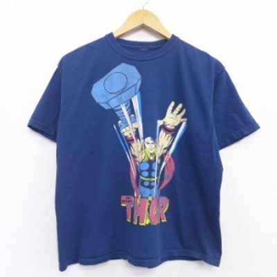 古着 半袖 Tシャツ DCコミックス マイティソー コットン クルーネック 紺 ネイビー Lサイズ 中古 メンズ Tシャツ 古着