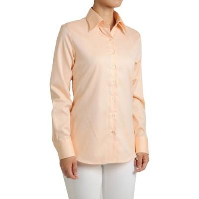 レディース シャツ ビジネス ワイシャツ ブラウス 長袖 ワイドカラー 形態安定 綿100% プレミアムコットン オックスフォード 日本製 ナチュラルフィット OL