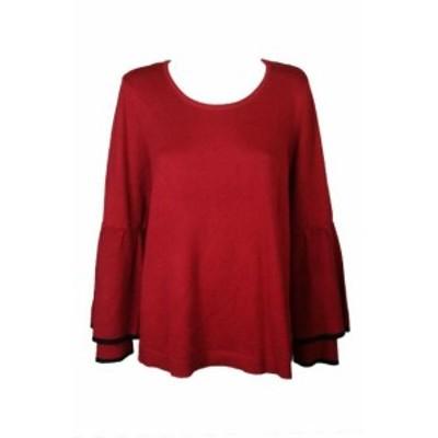 ファッション トップス Stile & Co Rosso Ruffled-Sleeve Maglione 1 X