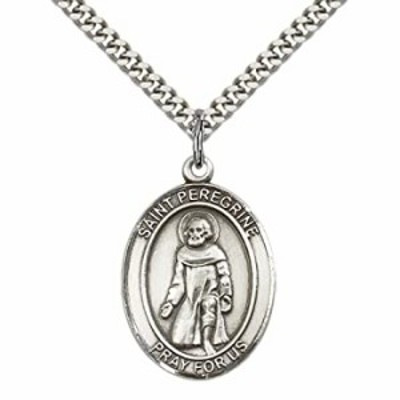 """F A Dumont Sterling Silver St. Peregrine Laziosi Pendant with 24"""" Stainless Steel Heavy Curb Chain. Patron Saint of Cancer/Runni"""