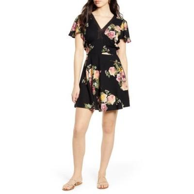 バンドオブジプシーズ ワンピース トップス レディース Sycamore Floral Print Minidress Black Rose