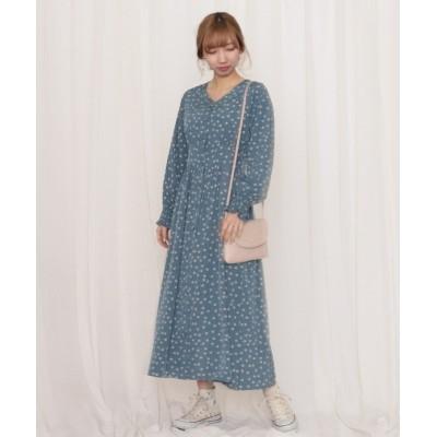 【チーク】 花柄シフォン前開きドレス レディース ブルー M Cheek