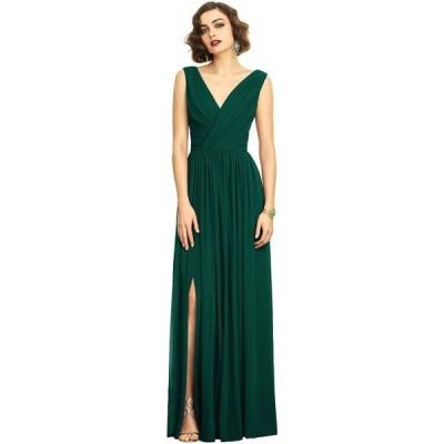ディシーコレクション Dessy Collection レディース パーティードレス ワンピース・ドレス Shirred Chiffon Gown Hunter Green