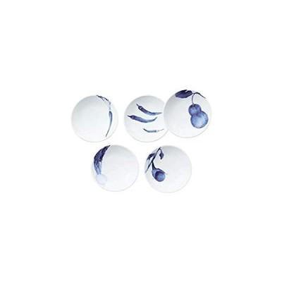 Noritake ノリタケ プレート 絵変り セット 直径約10cm・高さ約2.5cm 京香旬彩 藍 電子レンジ対応 食洗器対応 5枚 絵変り