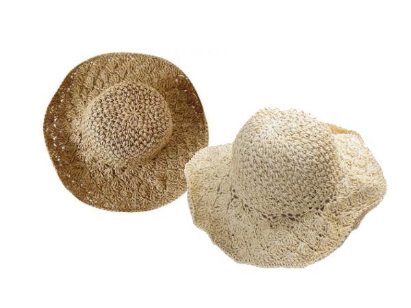 韓國可收折拉菲草編織草帽(1入) 駝色/米色 兩色可選【D280001】附贈收納袋x1