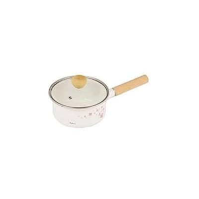 パール金属 フラワーガーデン ホーローガラス蓋片手鍋18cm(さくら) HB-2499