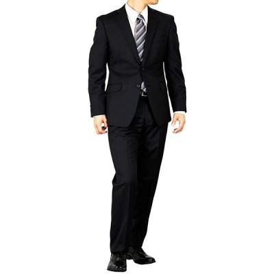 【 meisin 】シングル2つボタンスーツ ノータックスマートモデル オールシーズン対応 紺無地 黒無地 就活 冠婚葬祭 (背抜き 黒, A6(対応