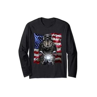 オオカミ 狼 バイク 星条旗 アメリカ 長袖Tシャツ