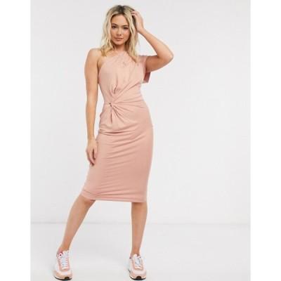 エイソス レディース ワンピース トップス ASOS DESIGN going out fallen shoulder one sleeve midi dress in blush