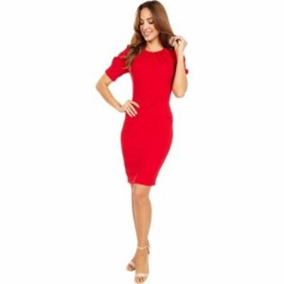 カルバンクライン Calvin Klein レディース ワンピース ワンピース・ドレス Short Sleeve Sheath Dress with Pleat Bodice Detail Red