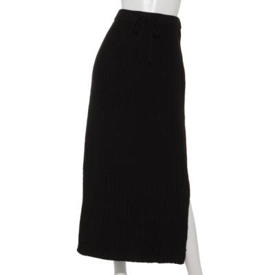 COLONY 2139 (コロニートゥーワンスリーナイン) レディース ウール混片畦切替ニットスカート+ ブラック フリー